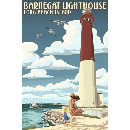 Long Beach Island - Barnegat Lighthouse Print Wall Art By Lantern Press (Long Beach Island Lighthouse)