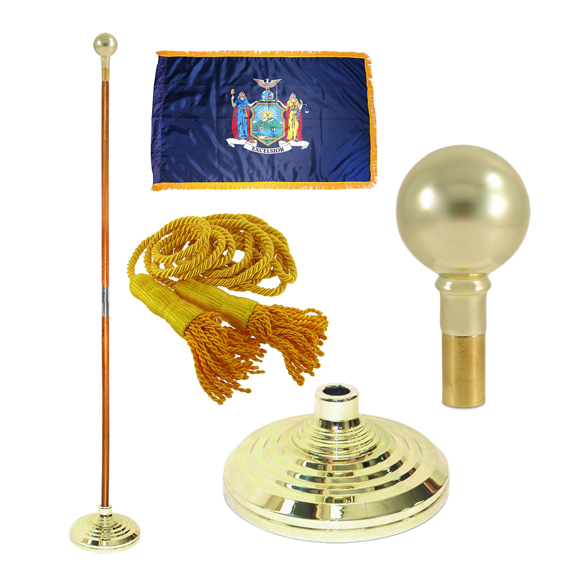 Indoor New York State Flag Kit - 7ft Pole - Parade Ball
