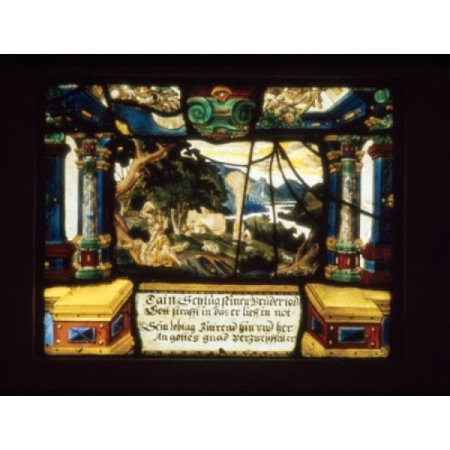 Century Stained Glass - Scene from Genesis  stained glass  17th Century Poster Print