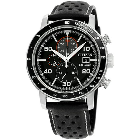 Chronograph Silver Dial Leather (CA0649-14E Men's Brycen Eco-Drive Black Dial Black Leather Strap Chronograph Watch )
