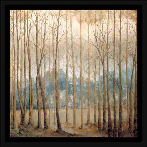 Neutral Birch Tree Forest Landscape Painting Tan & Blue, Framed Canvas Art by Pied Piper Creative