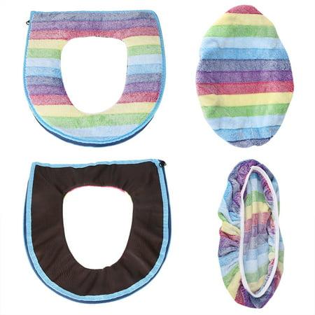 Yosoo 2pcs/set Warm Soft Coral Velvet Toilet Seat Lid Cover Set Rainbow Color Bathroom Decoration, Toilet Cover Set,Toilet Seat Cover - image 1 of 7