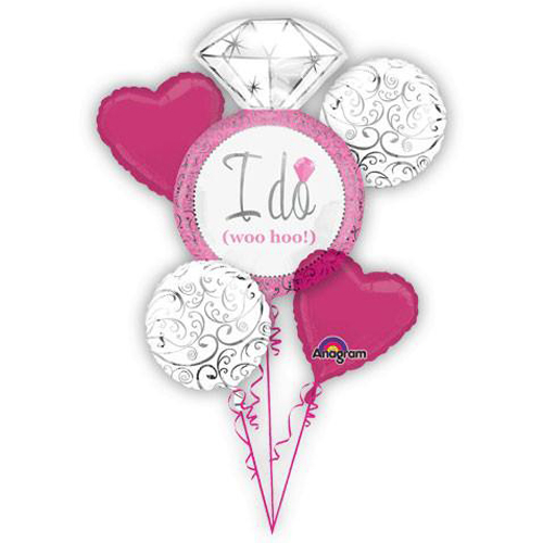 Wedding and Bridal 'I Do, Woo Hoo!' Foil Mylar Balloon Bouquet (5pc)