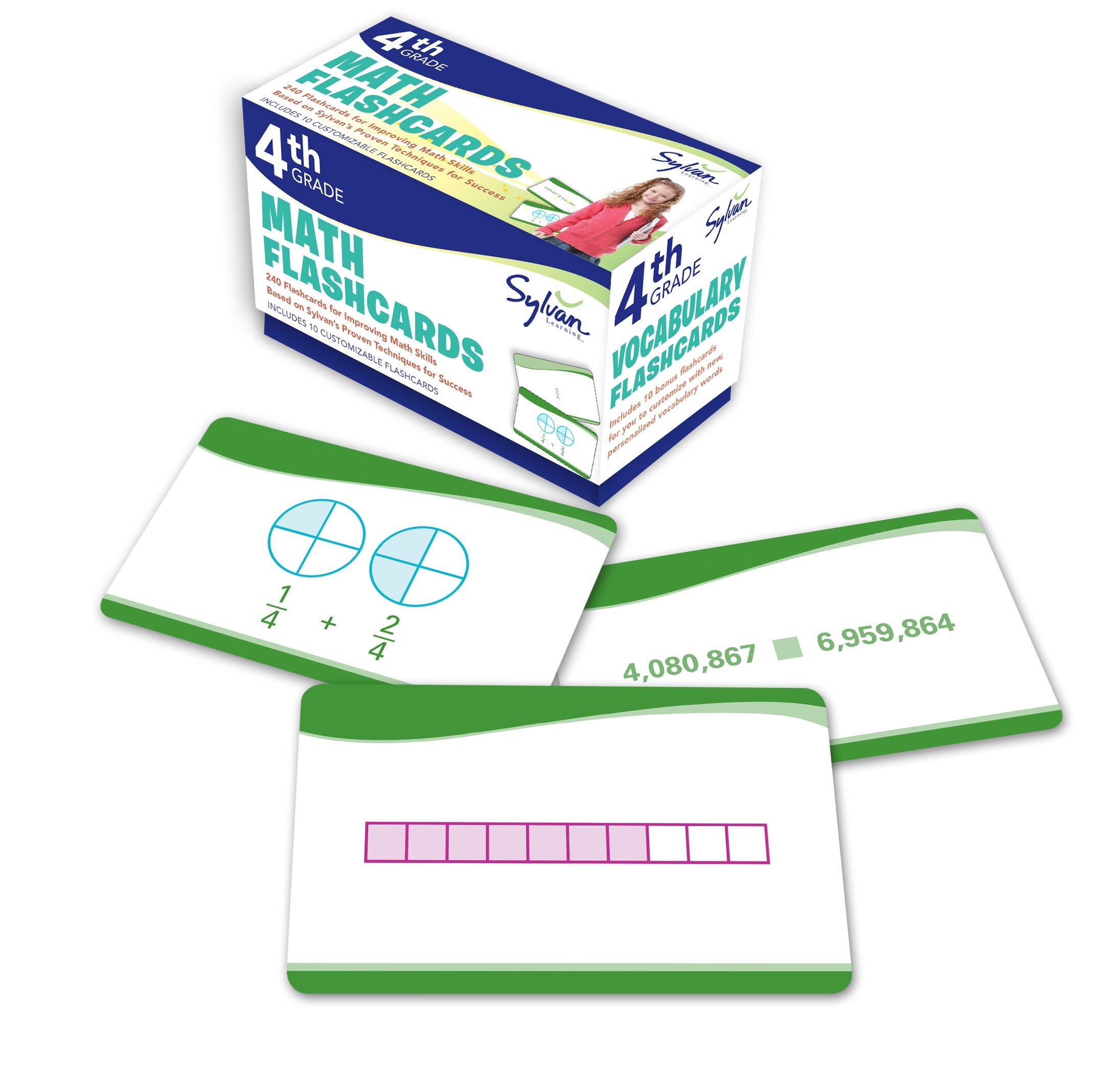 4th Grade Math Flashcards : 240 Flashcards for Improving Math Skills Based on Sylvan's Proven Techniques for Success