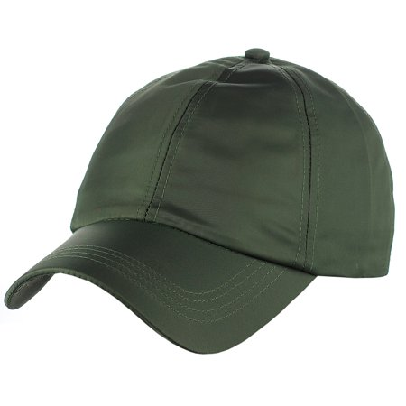 Women's Adjustable Satin Feel Low Profile Baseball Dad Cap Hat, Olive