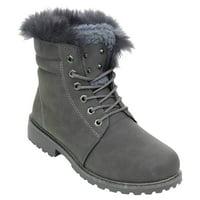 4eb35563d9 Product Image Fur & Shearling Trim Lug Boots Vegan Suede Booties Women's  Grey - 10