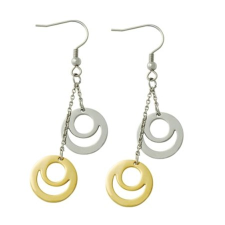 Ladies Two Tone Stainless Steel  Dangle Circle Earrings Circle Two Tone Earrings