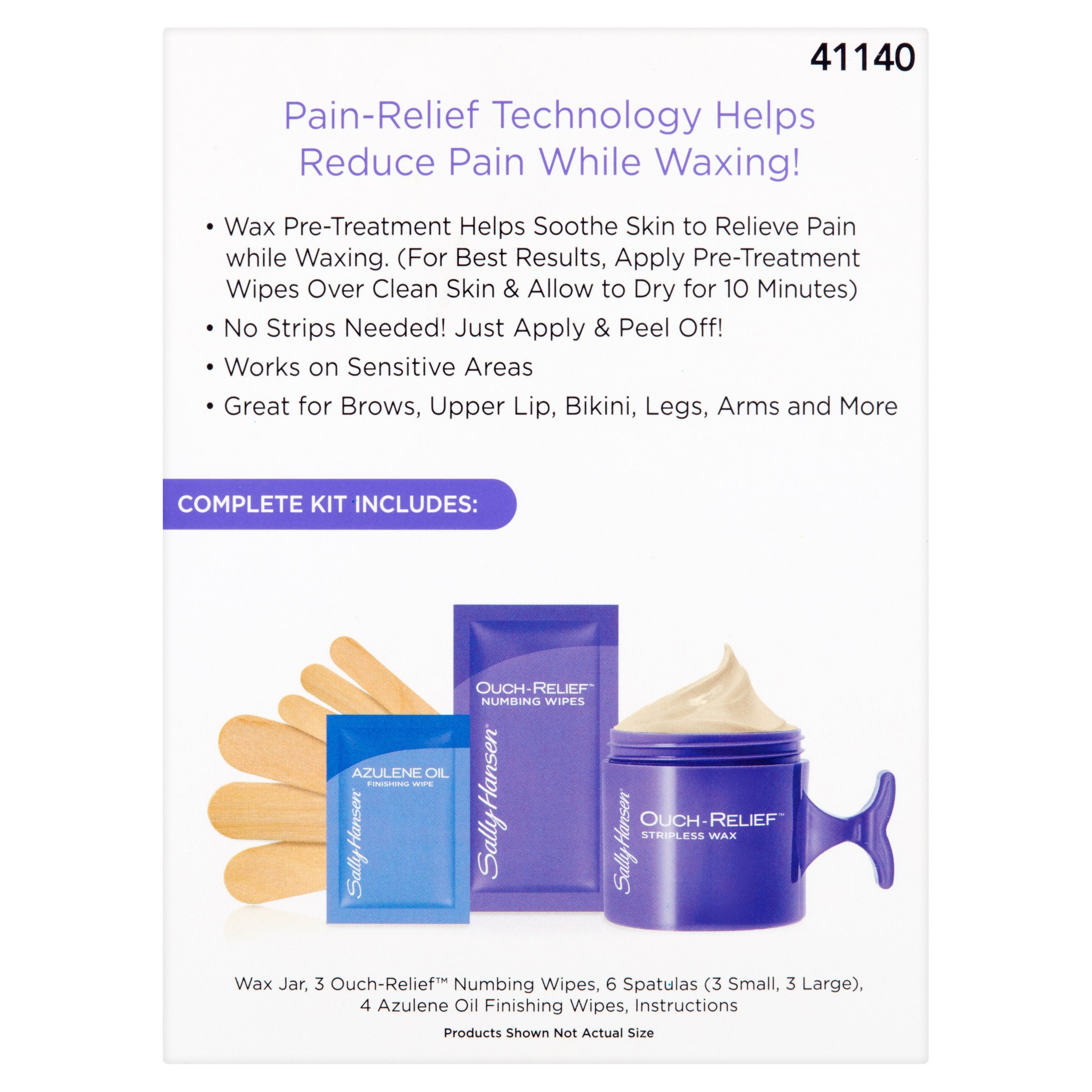 Sally Hansen Ouch-Relief Stripless Hard Wax Kit Hair Remover, 3 pc