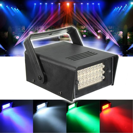 24 LED 10W Mini Projector Stage Light Effect Lighting Red Green Blue White RGB Lamp Strobe DJ Disco Party Club Automatic Play Modes (Party Strobe Light Kits)