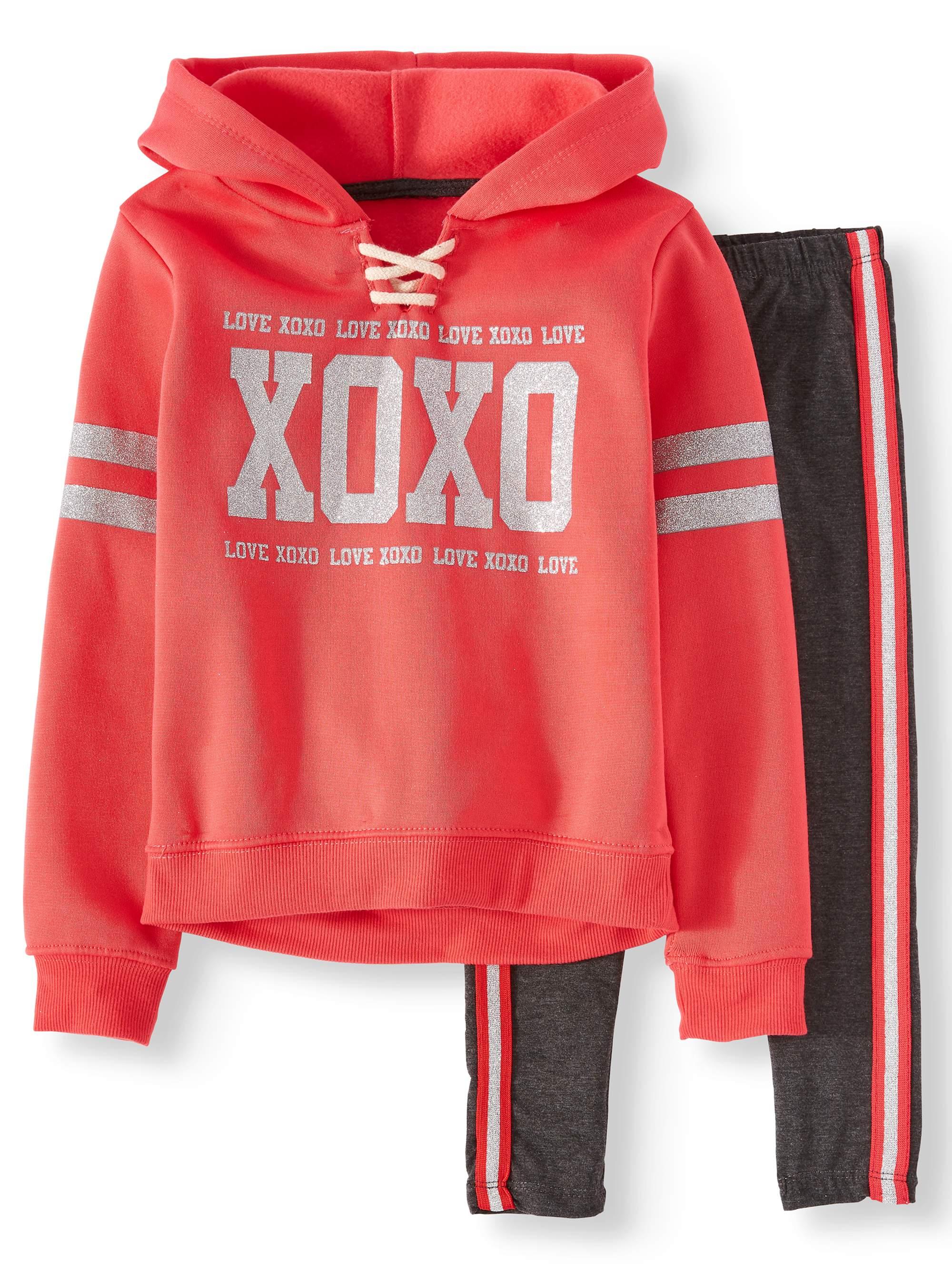 Varsity Stripe Pullover Fleece Hoodie & Legging, 2-Piece Set (Little Girls & Big Girls)