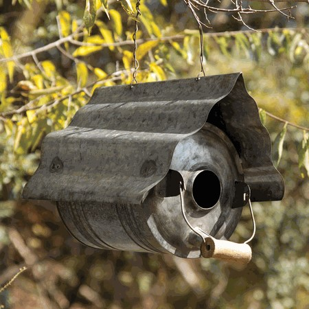 Galvanized Metal Repurposed Birdhouse Can by