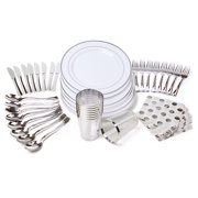 LIVINGbasics Plastic Party Tableware Combo Kit for 8 Guests, White Silver - 6 Kits