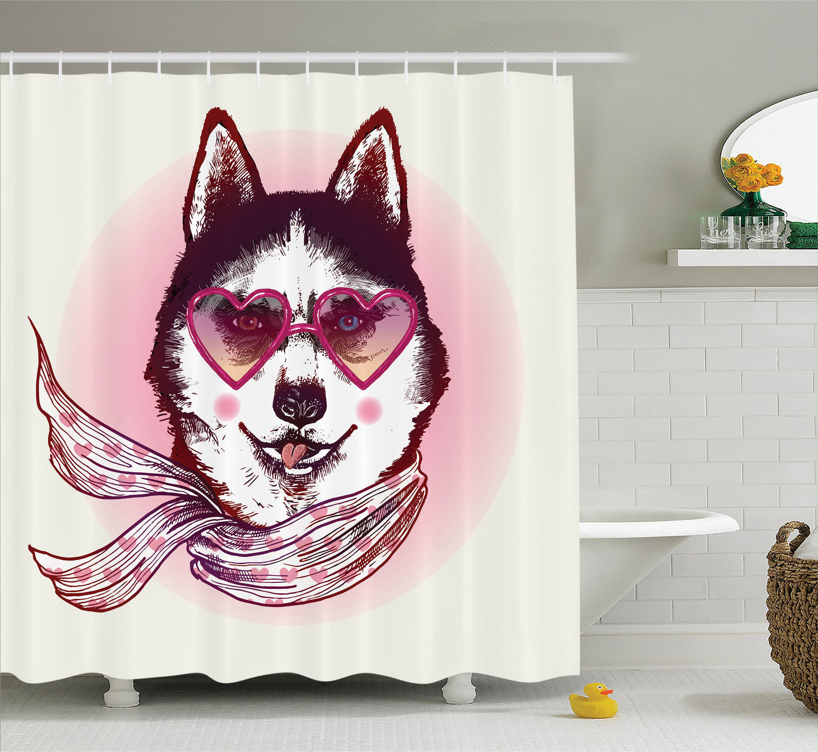 Cartoon Decor  Hipster Husky Dog With Heart Shaped Sunglasses And Scarf Fashion Animal Art Print, Bathroom Accessories, 69W X 84L Inches Extra Long, By Ambesonne
