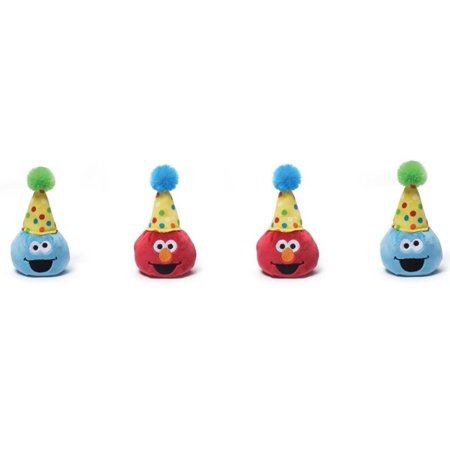 Gund Sesame Street Elmo & Cookie Monster Birthday Party Pack of 4 - Monster High Birthday Theme