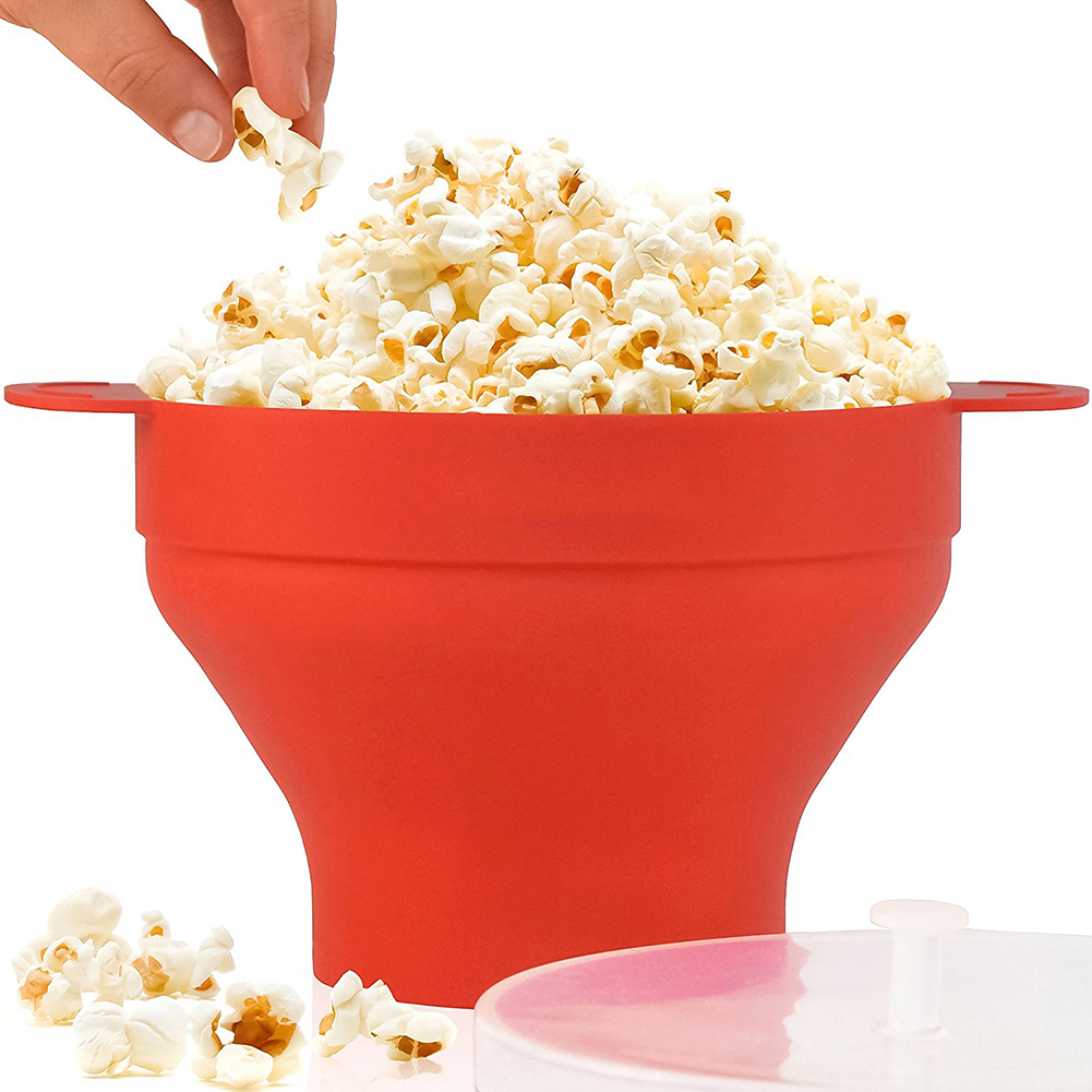 Jeobest 1PC Popcorn Maker Microwave Silicone - Popcorn Popper Bowl - Popcorn Popper - Microwave Popcorn Maker Microwave Popcorn Popper Collapsible Silicone Bowl with Lid for Home MZ