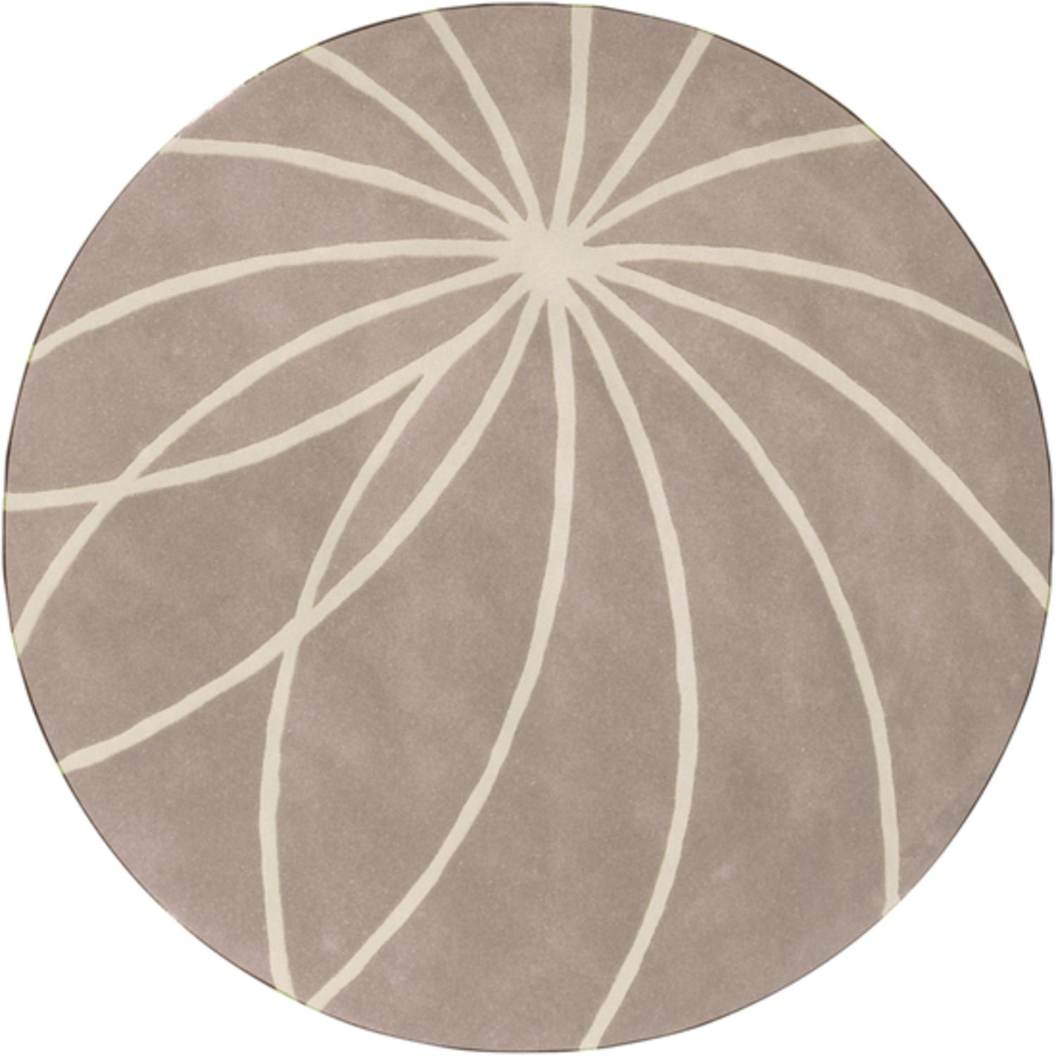 9.75' Plasma Elektra White and Safari Tan Hand Tufted Wool Round Area Throw Rug