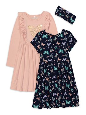 Freestyle Revolution Girls 4-12 Long Sleeve and Short Sleeve Fashion Play Dress, 2-Pack With GWP