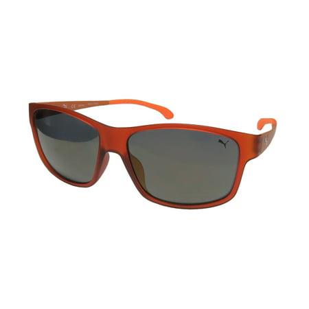 New Puma 15187 Mens Designer Full-Rim Mirrored Brown / Orange Genuine Signature Emblem High-end Hip Sunnies Shades Frame Slightly Mirrored Gray Lenses 57-15-140 Sunglasses/Eyewear (Mirrored Sunnies)