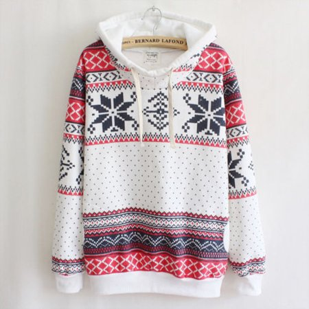 Womens Hoodie Christmas Snowflake Jumper Sweater Tops Tracksuit Pullover Tribal Sweatshirt (Snowflake Pullover Sweater)