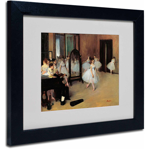"Trademark Fine Art ""The School of Dance 1871"" Canvas Art by Edgar Degas, Black Frame"