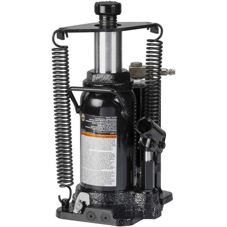 Omega 18126C Black Hydraulic Bottle Jack with Return Springs, 12 Ton Capacity