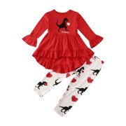Toddler Baby Girl Valentine's Day Outfits Long Sleeve Love Heart Dinosaur Print Ruffle Dress Pants Clothes Set
