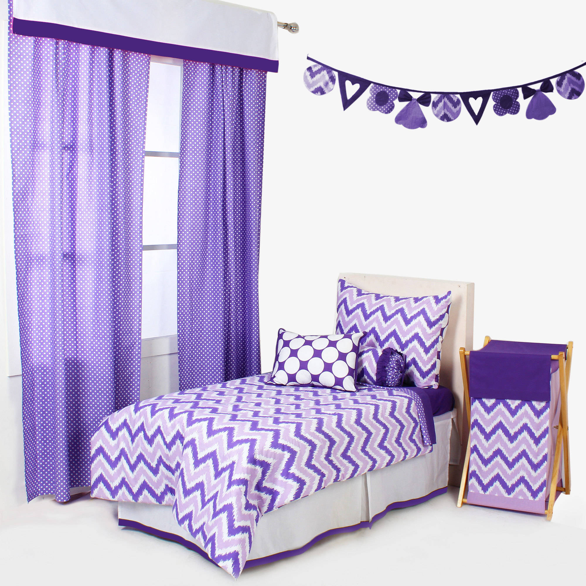 Bacati - MixNMatch 4-Piece Toddler Bedding Set 100 Cotton percale fabrics, Purple