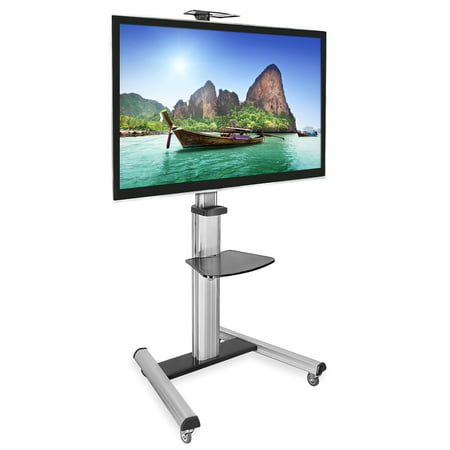 mount it mobile rolling tv stand for 32 37 40 43 48 50 55 60 65 and 70 inch led lcd flatscreen. Black Bedroom Furniture Sets. Home Design Ideas