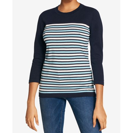 Tommy Hilfiger Deep Womens Crewneck Striped Sweater