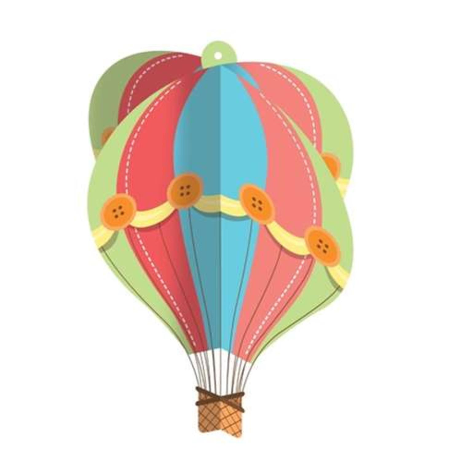 Pack of 12 Up, Up and Away Mint Green and Coral Baby Shower Hanging Hot Air Balloon 16""