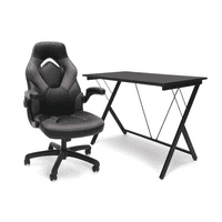 OFM Essentials eSports BattleStation: Racing Gaming Chair, Gaming Desk (Gray/Black)