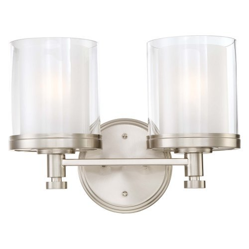 2 Light - Vanity - Fixture - Clear & Frosted Glass
