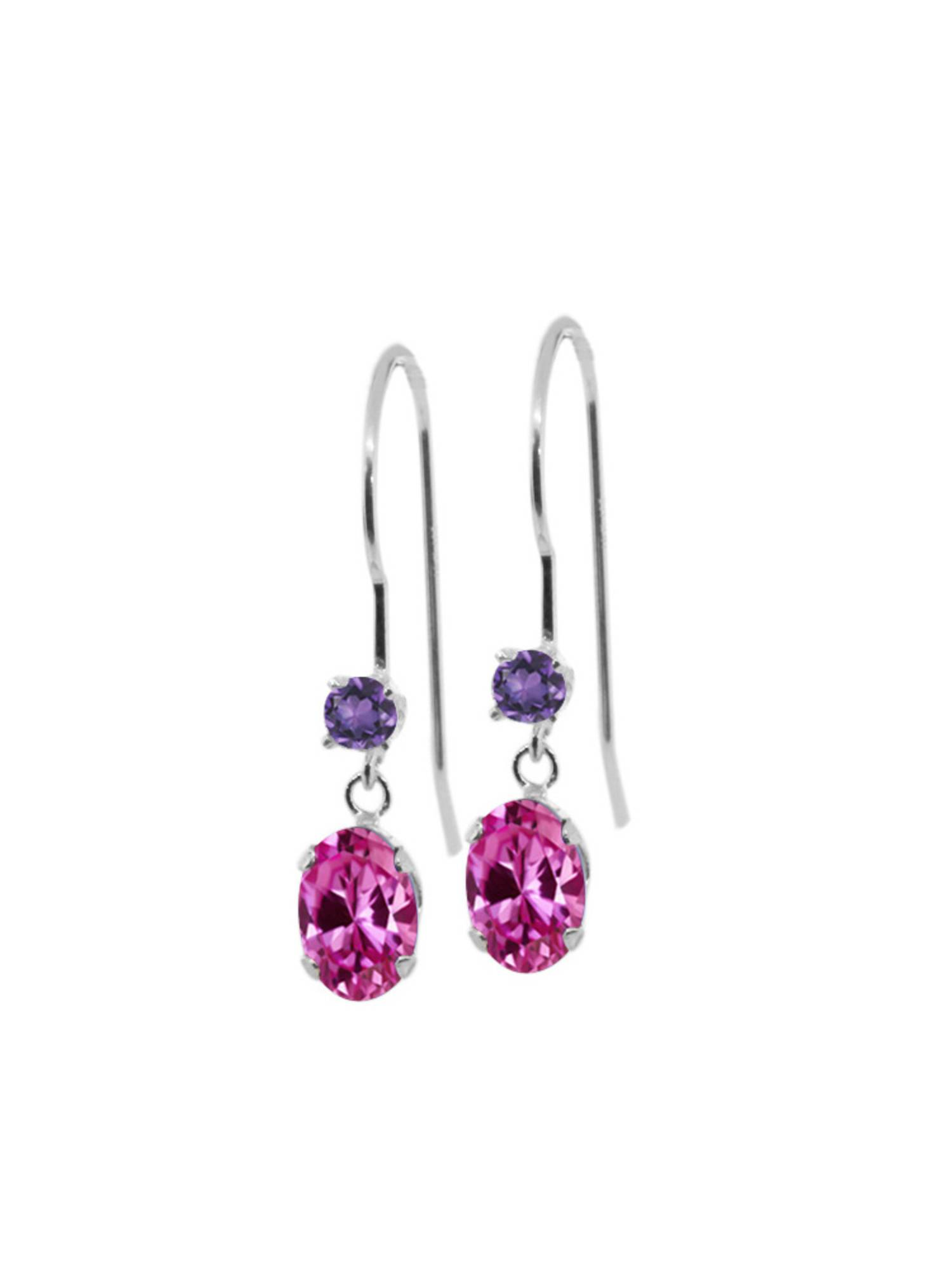1.32 Ct Oval Pink Created Sapphire Purple Amethyst 14K White Gold Earrings by