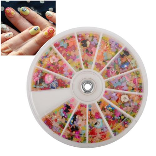 Zodaca 1200pcs Wheel Mixed Nail Art Tips Glitters Rhinestones Slice Decoration Manicure Beauty