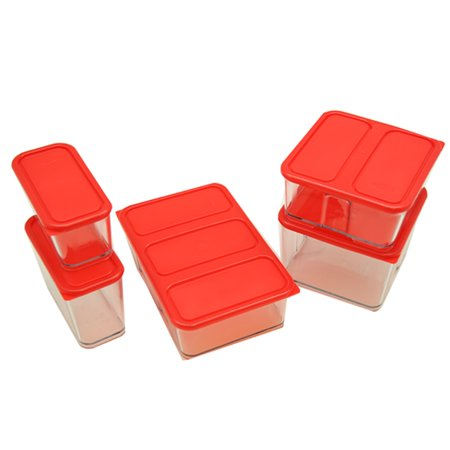 - New Block System Storage Glass Containers Lever-Lock airtight Seal 5pc Set Red