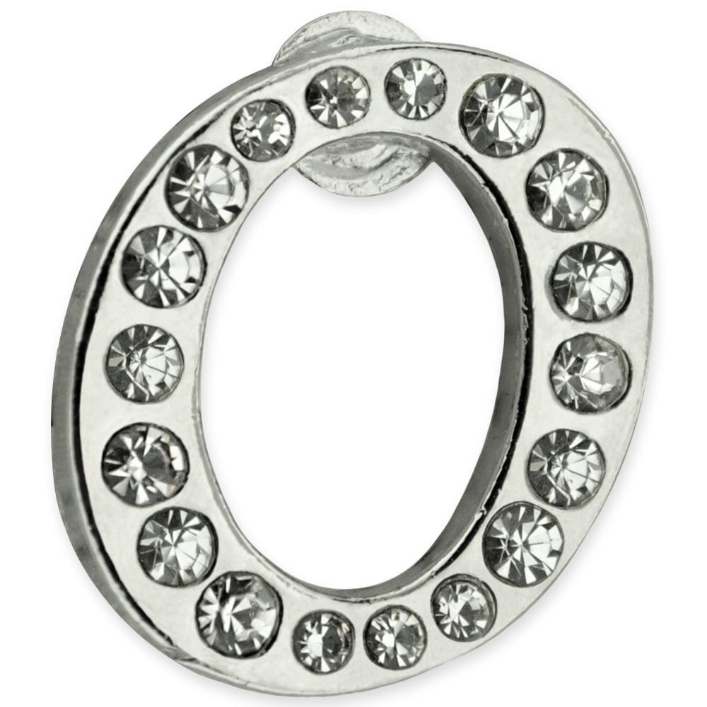 PinMart Silver Plated Rhinestone Alphabet Letter T Lapel Pin