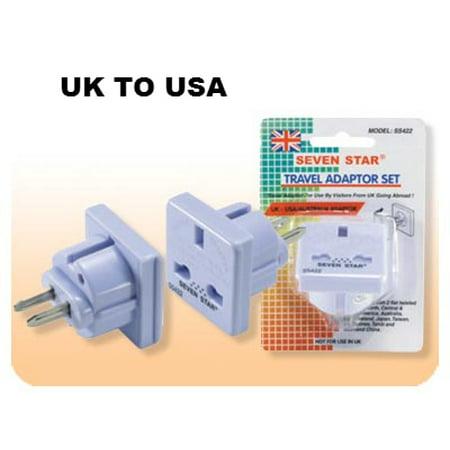 British UK to USA Plug Adapter Seven Star SS422 (Usa Sevens)