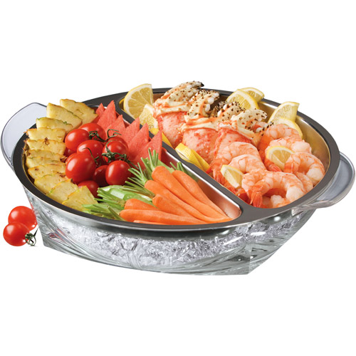 """Prodyne 14"""" Double Compartment 18/8 Stainless Steel Iced Serving Tray"""