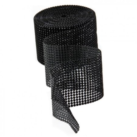 Koyal Diamond Rhinestone Ribbon Wrap Roll, 10-Yard, Black/Black