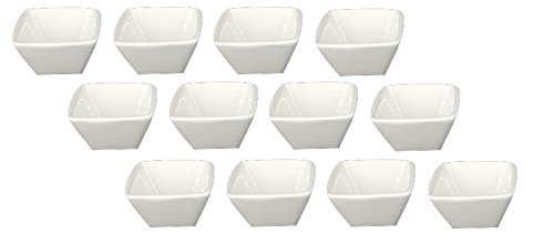 Clipper Square Porcelain China Ramekin Bone White 1.5 Oz (Set of 12) by