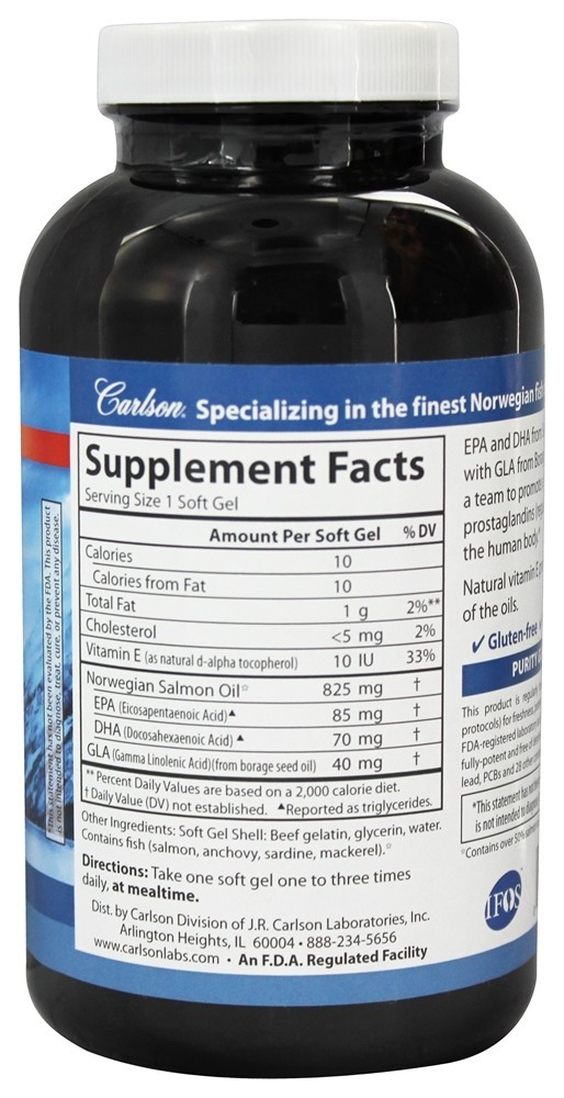Carlson Labs - Norwegian Salmon Oil And GLA - 240 Softgels
