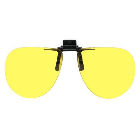 polycarbonate clip-on flip-up enhancing driving glasses - bright yellow - aviator shape - 58mm w x 52mm h (134mm - Aviator Glasses