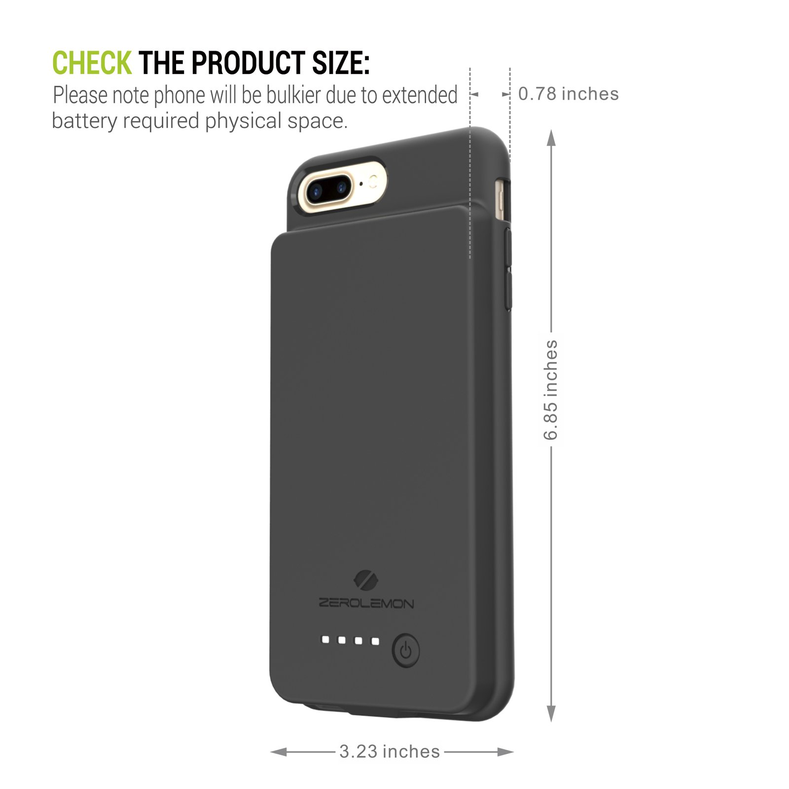 hot sale online 0b230 c991a iPhone 8 Plus/7 Plus Battery Case, ZeroLemon iPhone 8 Plus/7 Plus 10000mAh  Extended Battery with Soft TPU Full Edge Protective Case for iPhone 8 ...