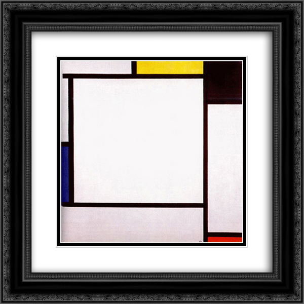 Piet Mondrian 2x Matted 20x20 Black Ornate Framed Art Print 'Composition 2'