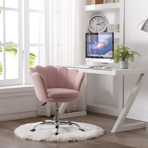 Lowestbest Modern Office Chairs Desk Chair With Wheels And Arm Leisure Swivel Shell Chairs For Living Room Bedroom Office Nude Pink Walmart Com Walmart Com
