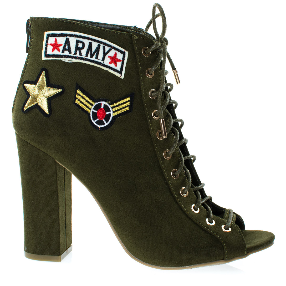 Women Army Patchwork Motifs Corset Ankle Bootie High Block Heel