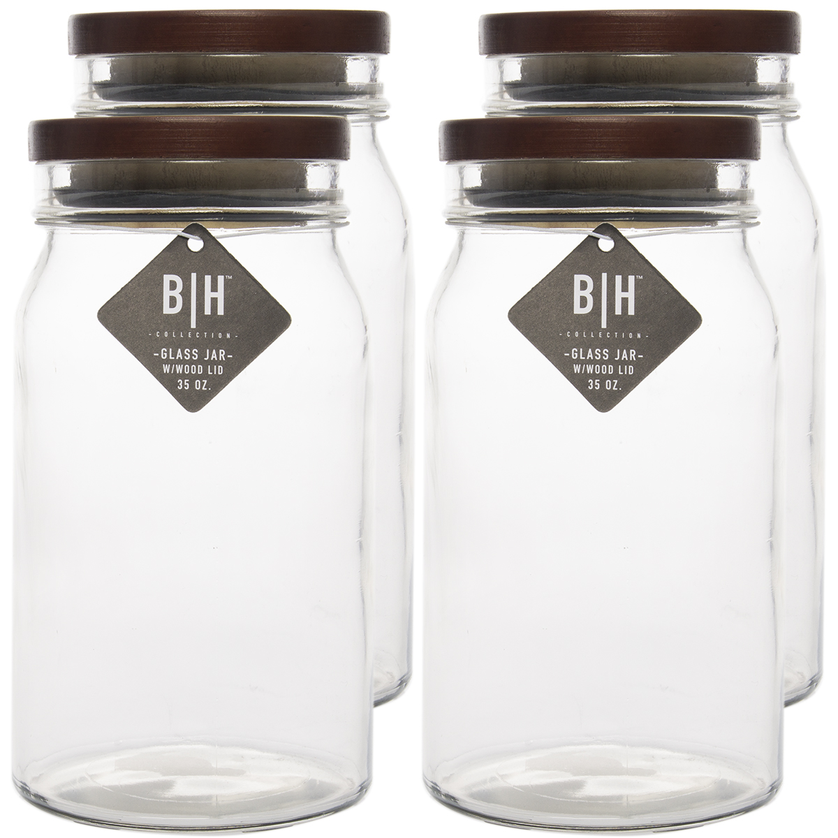Blue Harbor (4 Pack) 35oz Clear Glass Storage Jars With Wood Lids Decorative Kitchen or Craft Jar Set by Blue Harbor