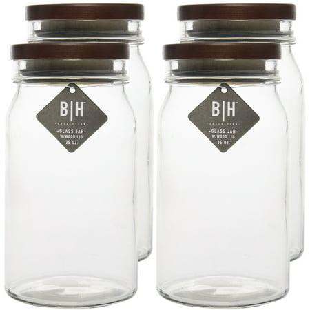 Blue Harbor (4 Pack) 35oz Clear Glass Storage Jars With Wood Lids Decorative Kitchen or Craft Jar Set - Craft Jars