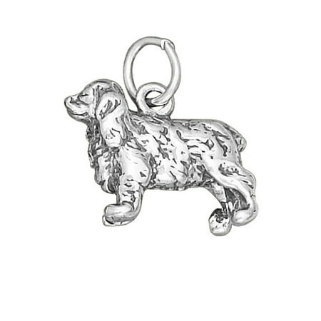 """Sterling Silver 16"""" .8mm Box Chain 3D COCKER SPANIEL Dog Breed Pendant Necklace"""
