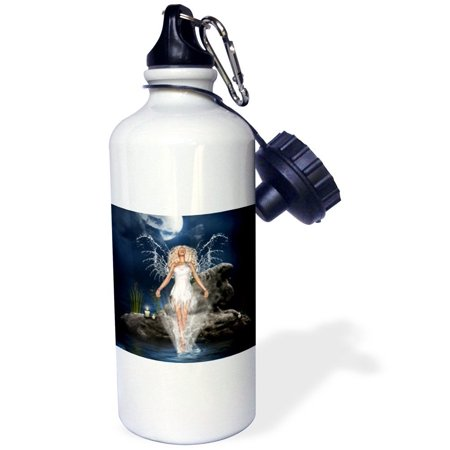 3dRose water guardian angel sea candles rock blue fantasy, Sports Water Bottle, 21oz